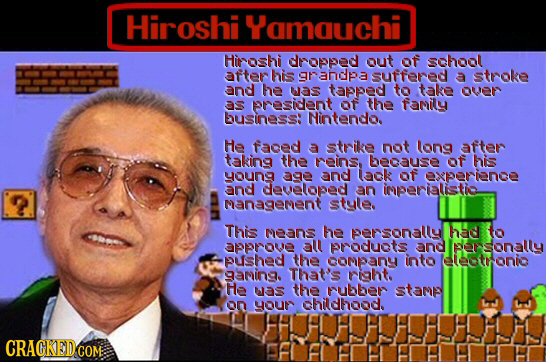 Hiroshi Yamquchi Hiroshi dropped out of school after his grandpa suffered a stroke and he was tapped to take over 33 resident of the fanily DuSINESS: