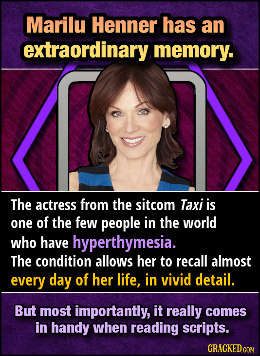 Marilu Henner has an extraordinary memory. The actress from the sitcom Taxi is one of the few people in the world who have hyperthymesia. The conditio