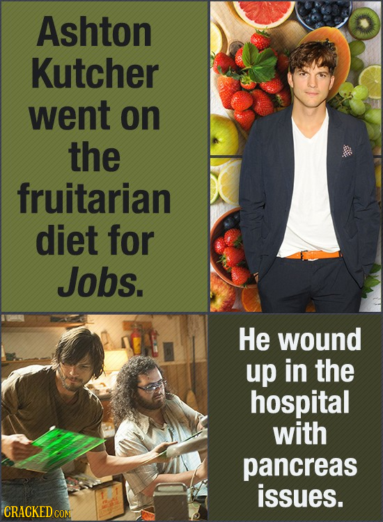 Ashton Kutcher went on the fruitarian diet for Jobs. He wound up in the hospital with pancreas issues. CRACKED CON