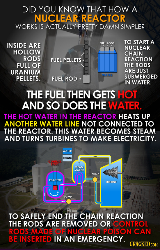 DID YOU KNOW THAT HOW A NUCLEAR REACTOR WORKS IS ACTUALLY PRETTY DAMN SIMPLE? TO START A INSIDE ARE FUEL RODS NUCLEAR HOLLOW CHAIN RODS FUEL PELLETS R