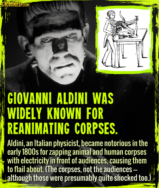 Giovanni Aldini was widely known for reanimating corpses. - Aldini, an Italian physicist, became notorious in the early 1800s for zapping animal and h