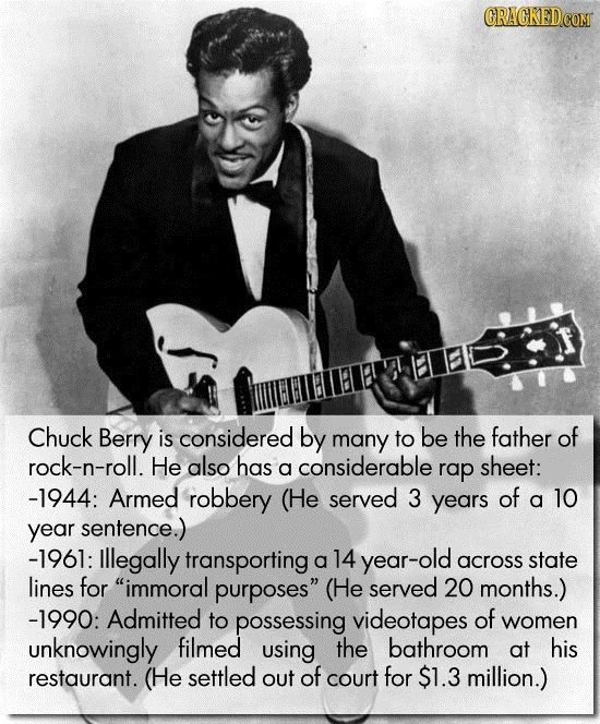 Chuck Berry is considered by many to be the father of rock-n-roll. He also has a considerable rap sheet: -1944: Armed robbery (He served 3 years of a