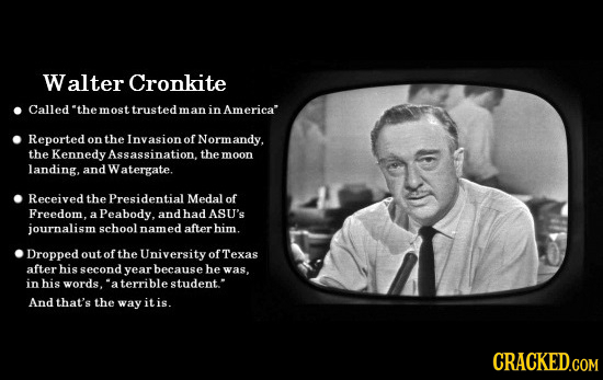 Walter Cronkite Called 'the most trusted m an in America Reported on the Invasion o Norm andy. the Kennedy Assassination the moon landing, and W aterg