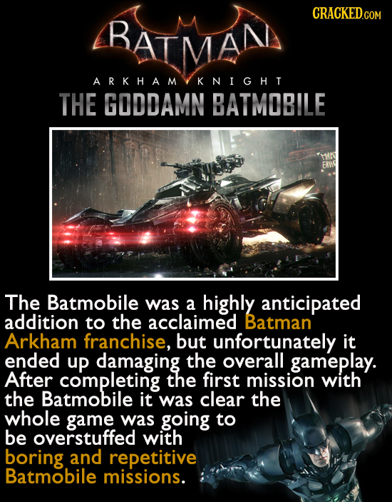 BATMAN CRACKEDcO ARKHAM KNIGHT THE GODDAMN BATMOBILE ERRD The Batmobile was a highly anticipated addition to the acclaimed Batman Arkham franchise, bu
