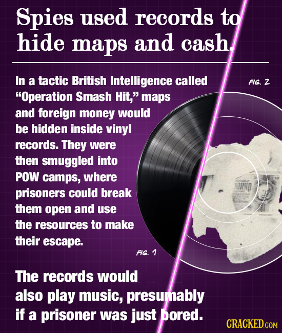 Spies used records to hide maps and cash In a tactic British Intelligence called FG. Z Operation Smash Hit, maps and foreign money would be hidden i