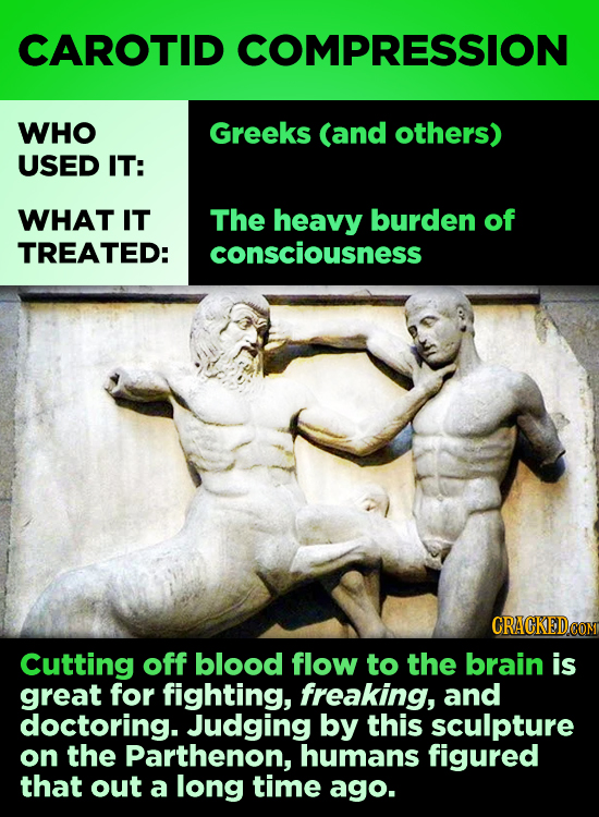 CAROTID COMPRESSION WHO Greeks (and others) USED IT: WHAT IT The heavy burden of TREATED: consciousness CRACKEDCON Cutting off blood flow to the brain
