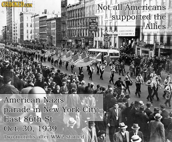 GRACKEDO Not all Americans supported the AlLies BLELENAIRA American Nazis parade in New York City East 86th St. Oct. 30, 1939 Two months after Ww2 sta
