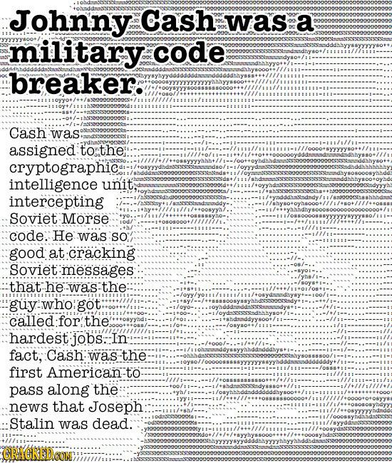 Johnny Cash was a oMt military code breaker. JOMoooyyyyyyyyyYyMhyyssoom//ll:// Cash was assigned to the: llllwltitllnohtoooleholle cryptographic. wwAl