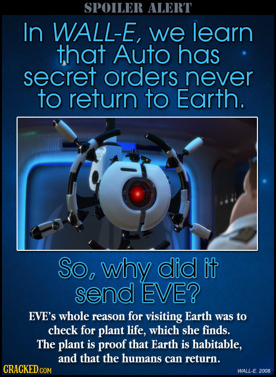 SPOILER ALERT In WALL-E, we learn that Auto has secret orders never to return to Earth. So, why did it send EVE? EVE'S whole reason for visiting Earth