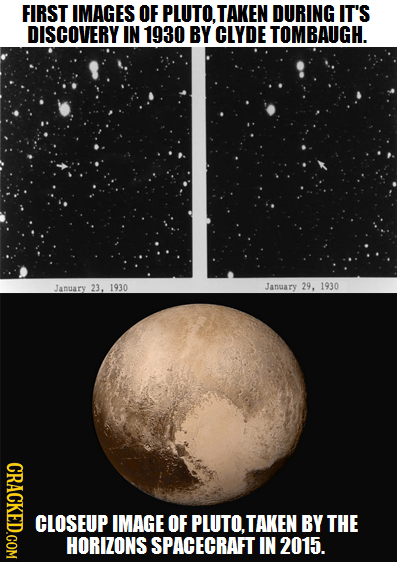FIRST IMAGES OF PLUTO. TAKEN DURING IT'S DISCOVERY IN 1930 BY CLYDE TOMBAUGH. January 23. 1930 Janary 29, 1930 CRACKED.COM CLOSEUP IMAGE OF PLUTO.TAKE