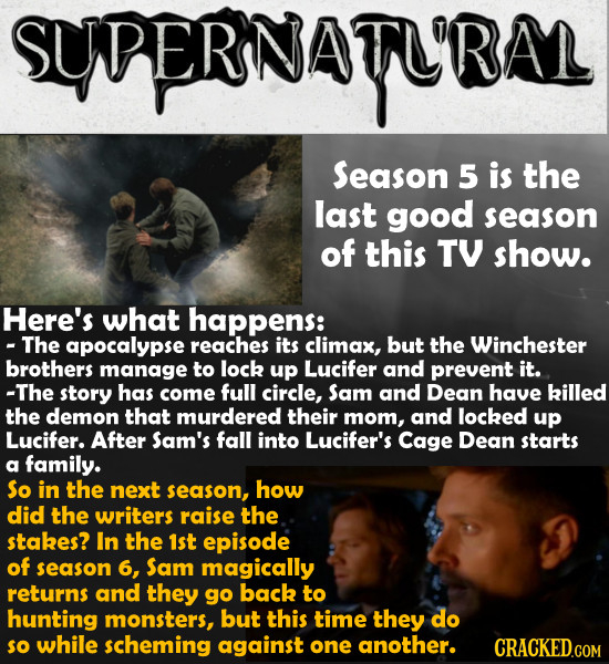 SUPERNATU'RA Season 5 is the last good season of this TV show. Here's what happens: - The apocalypse reaches its climax, but the Winchester brothers m