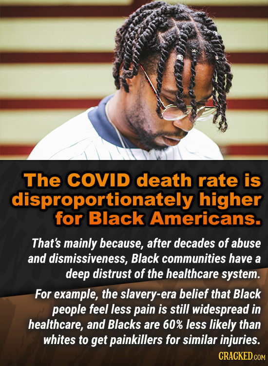 The COVID death rate is dispoBlack higher for Americans. That's mainly because, after decades of abuse and dismissiveness, Black communities have a de