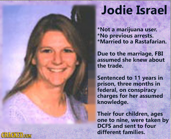 Jodie Israel *Not a marijuana user. *No previous arrests. *Married to a Rastafarian. Due to the marriage, FBI assumed she knew about the trade. Senten