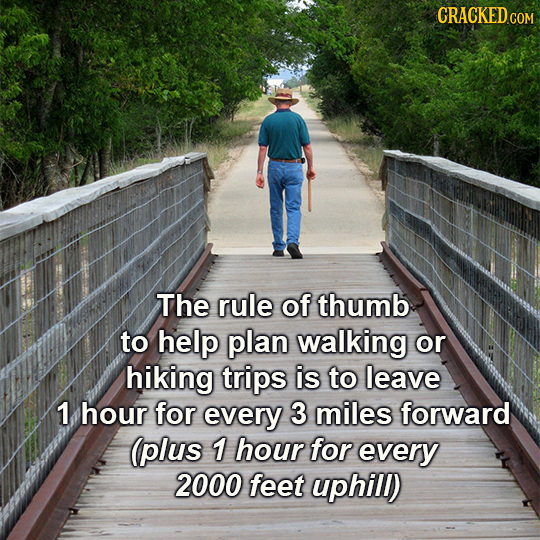 GRACKEDCO The rule of thumb to help plan walking or hiking trips is to leave 1 hour for every 3 miles forward (plus 1 hour for every 2000 feet uphill)