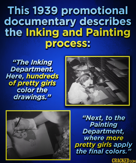 This 1939 promotional documentary describes the Inking and Painting process: The Inking Department. Here, hundreds of pretty girls color the drawings