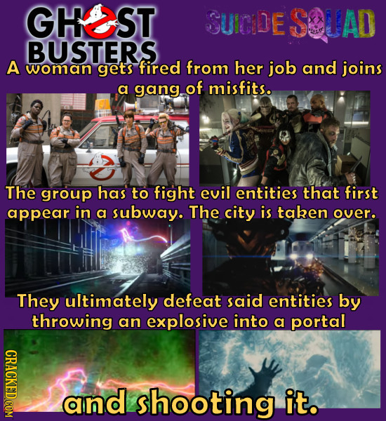 GHEST SUICDE SOUAD BUSTERS A woman gets fired from her job and joins a gang of misfits. The group has to fight evil entities that first appear. in a s