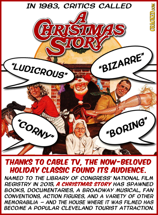 IN 1983, CRITICS CALLED A HORISIMAS SOR GRU LUDICROUS BIZARRE COrny BORING THANKS TO CABLE TV, THE NOW-BELOVED HOLIDAY CLASSIC FOUND ITS AUDIE