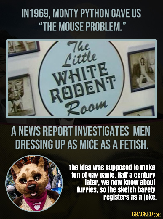 IN 1969, MONTY PYTHON GAVE US THE MOUSE PROBLEM. The Little WHITE ROLENT Roou A NEWS REPORT INVESTIGATES MEN DRESSING UP AS MICE AS A FETISH. The id
