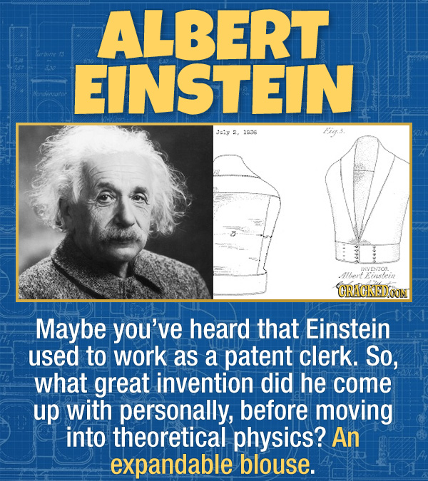 17 Unexpected Accomplishments of Famous People - Maybe you've heard that Einstein used to work as a patent clerk. So, what great invention did he come