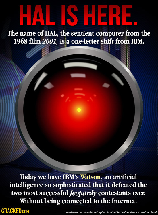 HAL IS HERE. The name of HAL, the sentient computer from the 1968 film 2001, is a one-letter shift from IBM. Today we have IBM'S Watson, an artificial
