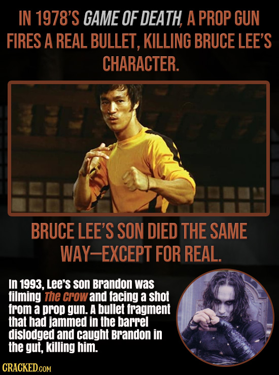 IN 1978'S GAME OF DEATH, A PROP GUN FIRES A REAL BULLET, KILLING BRUCE LEE'S CHARACTER. BRUCE LEE'S SON DIED THE SAME AY-EXCEPT FOR REAL. In 1993, LEE