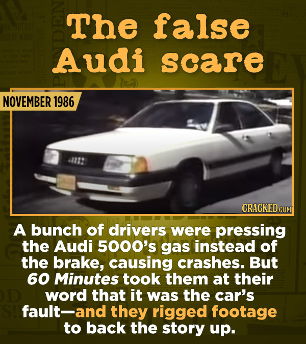 15 Of The Most Shameful Cases Of False Reporting From The Media - A bunch of drivers were pressing the Audi 5000's gas instead of the brake, causing c