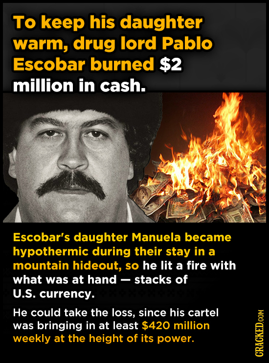 To keep his daughter warm, drug lord Pablo Escobar burned $2 million in cash. Escobar's daughter Manuela became hypothermic during their stay in a mou