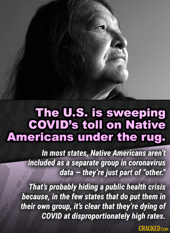 The U.S. is sweeping COviD's toll on Native Americans under the rug. In most states, Native Americans aren't included as a separate group in coronavir