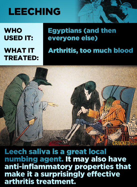 LEECHING WHO Egyptians (and then USED IT: everyone else) WHAT IT Arthritis, too much blood TREATED: CRACKED- COM Leech saliva is a great local numbing