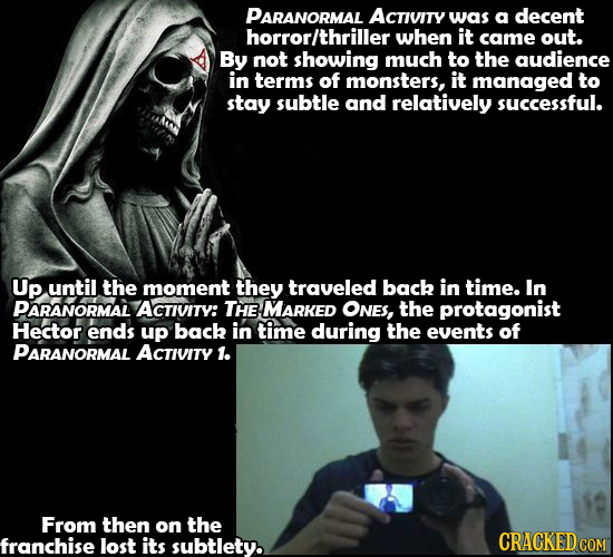 PARANORMAL ACTIVITy was a decent horrorlthriller when it came out. By not showing much to the audience in terms of monsters, it managed to stay subtle