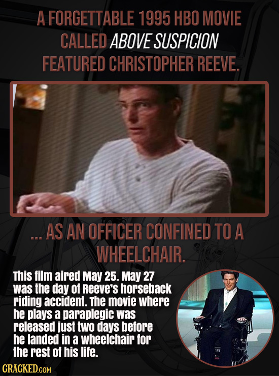 A FORGETTABLE 1995 HBO MOVIE CALLED ABOVE SUSPICION FEATURED CHRISTOPHER REEVE. ... AS AN OFFICER CONFINED TO A WHEELCHAIR. This film aired May 25. Ma