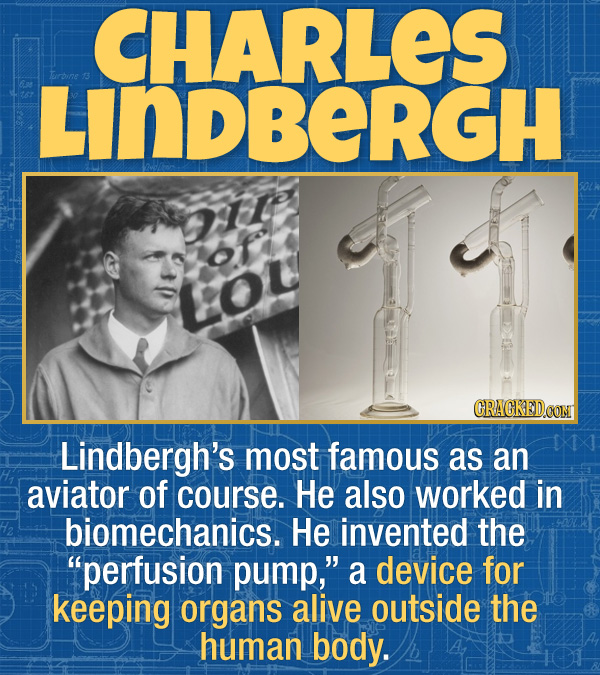"""17 Unexpected Accomplishments of Famous People - Lindbergh's most famous as an aviator of course. He also worked in biomechanics. He invented the """"per"""