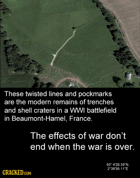 These twisted lines and pockmarks are the modern remains of trenches and shell craters in a WWI battlefield in Beaumont-Hamel, France. The effects of