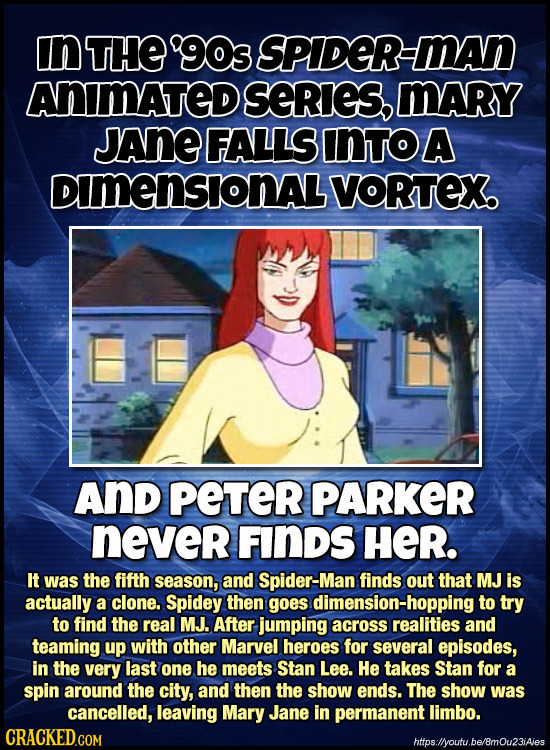 n THE 90s SPIDER-MAN ANIMATED SERIES, MARY JAnE FALLS INTOA DimensionALVoRTeX AnD PETER PARKER never FINDS HER. It was the fifth season, and Spider-M