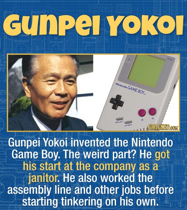 17 Unexpected Accomplishments of Famous People - Gunpei Yokoi invented the Nintendo Game Boy. The weird part? He got his start at the company as a jan