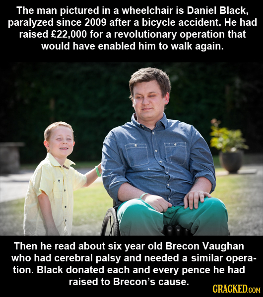The man pictured in a wheelchair is Daniel Black, paralyzed since 2009 after a bicycle accident. He had raised E22,00 for a revolutionary operation th