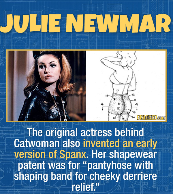 17 Unexpected Accomplishments of Famous People - The original actress behind Catwoman also invented an early version of Spanx. Her shapewear patent wa