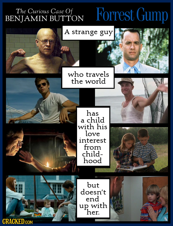 The Curious Case Of Forrest Gump BENJAMIN BUTTON A strange guy who travels the world has child a with his love interest from child- hood but doesn't e