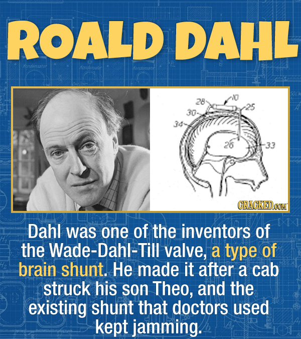 17 Unexpected Accomplishments of Famous People - Dahl was one of the inventors of the Wade-Dahl-Till valve, a type of brain shunt. He made it after a