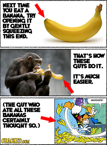 NEXT TWE YOU EAT A BANANA TRY OPENING IT BY GENTLY SQUEEZNG THIS END. THAT'S How THESE GUYS DOIT. IT'S MUCH EASIER WHOOOPS! (THE GUY WO ATE AL THESE B
