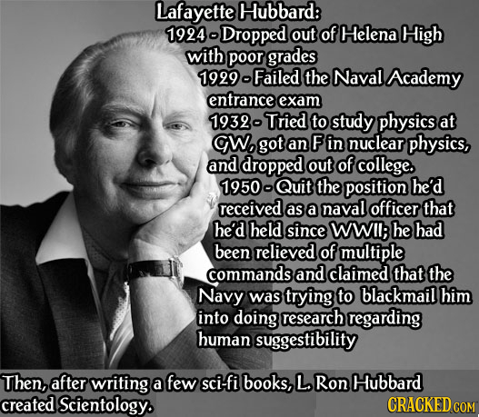 Lafayette Hubbard: 1924 -Dropped out of Helena High with poor grades 1999 Failed the Naval Academy entrance exam 1939- Tried to study physics at CWo g