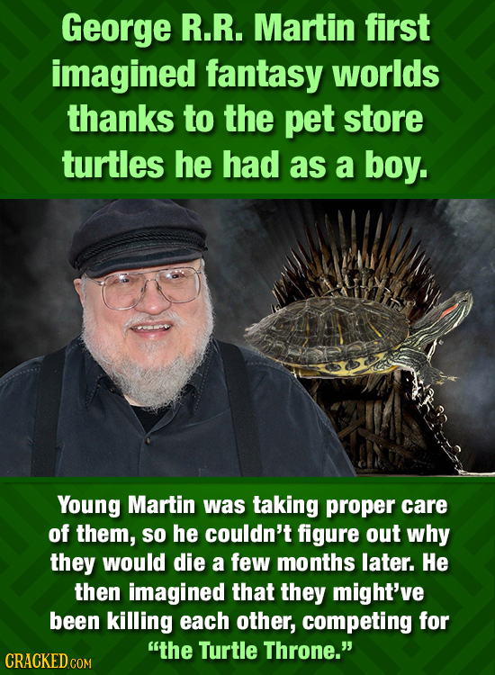 George R.R. Martin first imagined fantasy worlds thanks to the pet store turtles he had as a boy. Young Martin was taking proper care of them, so he c