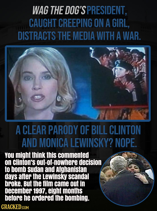 WAG THE DOG'S PRESIDENT, CAUGHT CREEPING ON A GIRL, DISTRACTS THE MEDIA WITH A WAR. A CLEAR PARODY OF BILL CLINTON AND MONICA LEWINSKY? NOPE. You migh