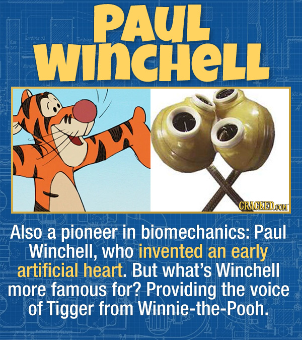 17 Unexpected Accomplishments of Famous People - Also a pioneer in biomechanics: Paul Winchell, who invented an early artificial heart. But what's Win