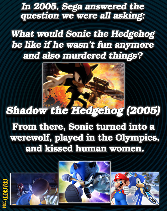 In 2005, Sega answered the question we were all asking: What would Sonic the Hedgehog be like if he wasn't fun anymore and also murdered things? Shado