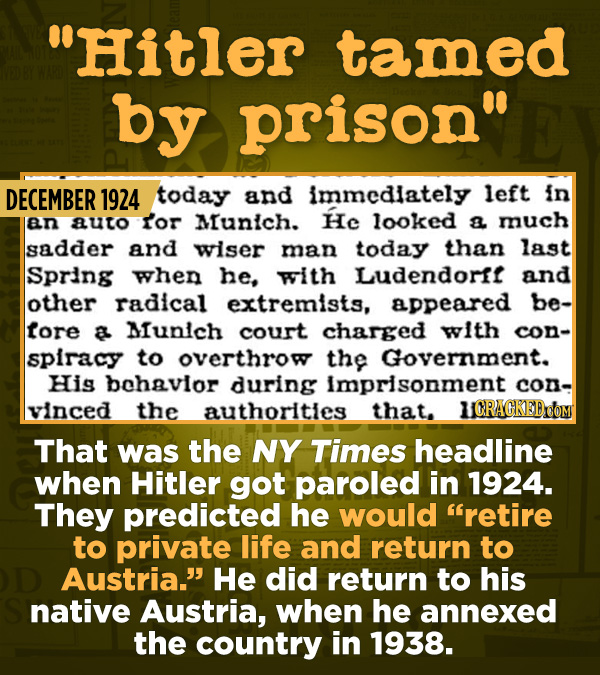 15 Of The Most Shameful Cases Of False Reporting From The Media - That was the NY Times headline when Hitler got paroled in 1924. They predicted he wo