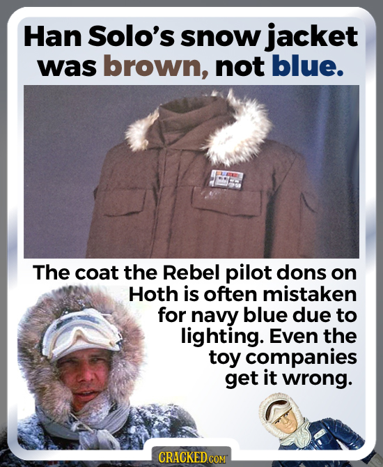 Han Solo's snow jacket was brown, not blue. The coat the Rebel pilot dons on Hoth is often mistaken for navy blue due to lighting. Even the toy compan