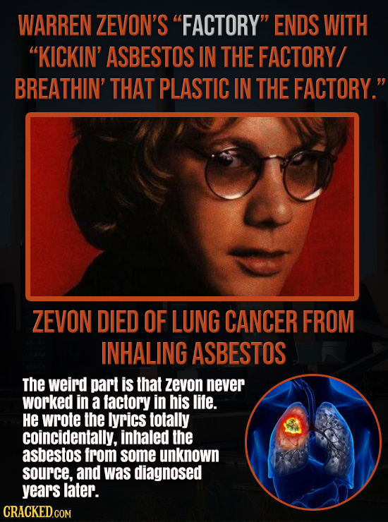 WARREN ZEVON'S FACTORY ENDS WITH KICKIN' ASBESTOS IN THE FACTORY/ BREATHIN' THAT PLASTIC IN THE FACTORY. ZEVON DIED OF LUNG CANCER FROM INHALING A