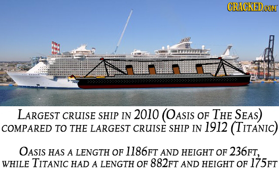 CRACKED COM LARGEST CRUISE SHIP IN 2010 (OASIs OF THE SEAS) COMPARED TO THE LARGEST CRUISE SHIP IN 1912 (TITANIC) OASIS HAS A LENGTH OF 1186FT AND HEI