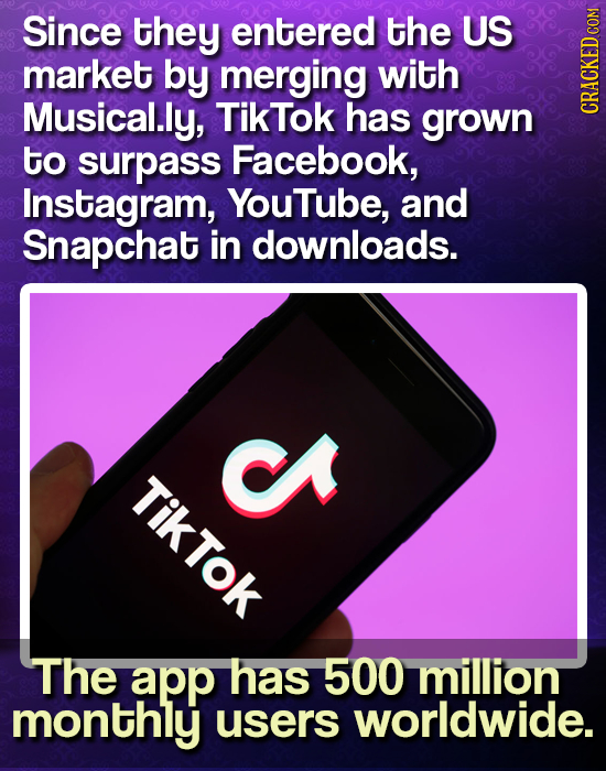 Since they entered the US market by merging with Musical.ly, TikTok has grown CRAGH to surpass Facebook, Instagram, YouTube, and Snapchat in downloads